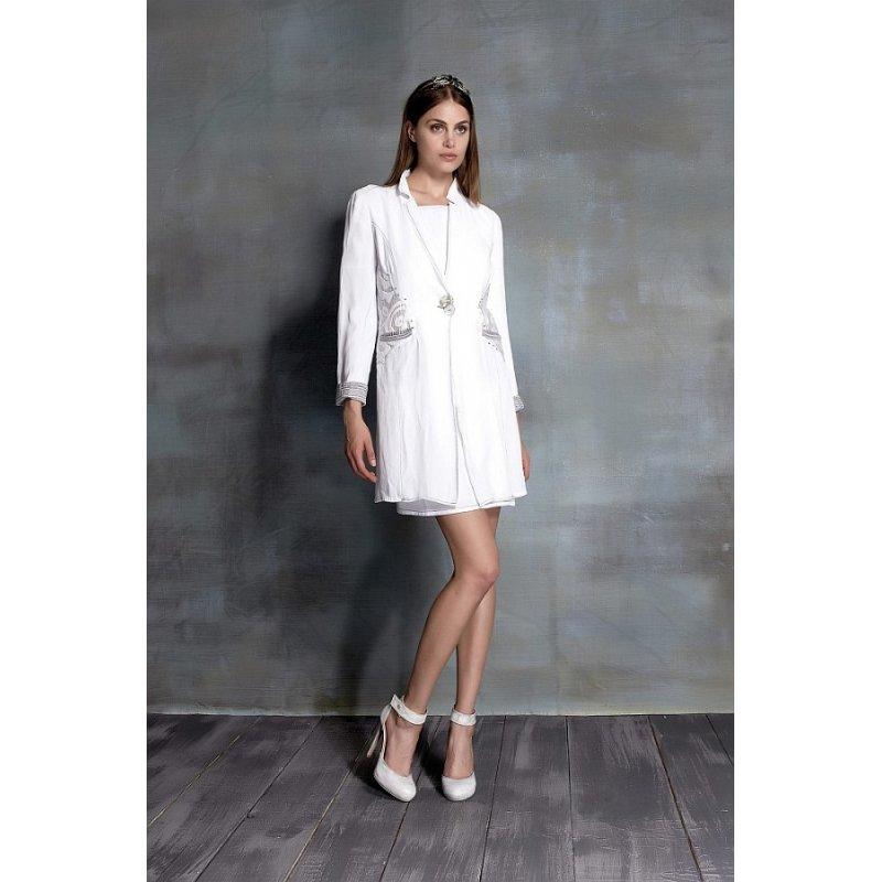 elisa cavaletti kleid mit passender jacke bianco sommer 2016